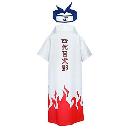 HappyShip Hokage Cloak Minato Jacket with Headband Minato Namikaze Yondaime Hokage Cape Cosplay (Large) White