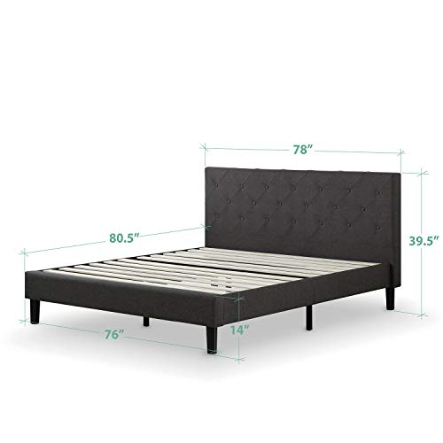 Zinus Shalini Upholstered Diamond Stitched Platform Bed / Mattress Foundation / Easy Assembly / Strong Wood Slat Support / Dark Grey, King
