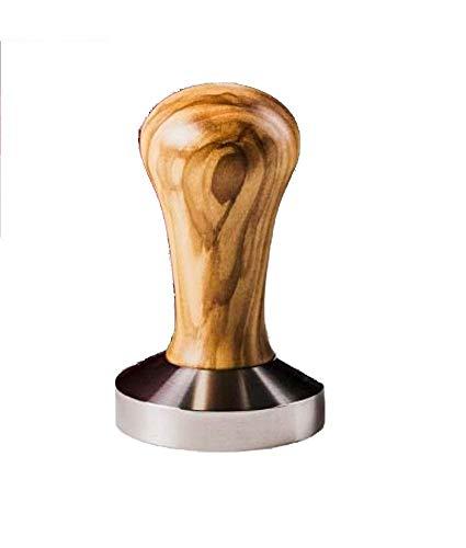 Tamper olive 57 mm de AlTaGru Coffee Tools by DekoStore - Manche en bois d'olivier - Partie inférieure en acier inoxydable - Presse-mouture