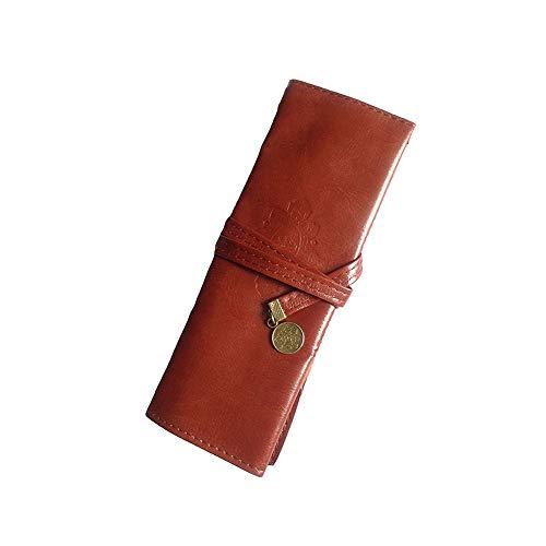 Bolsa de maquillaje suave de alta clase para brochas de maquillaje, estilo retro, bolsa para lápices con crepúsculo, color marrón