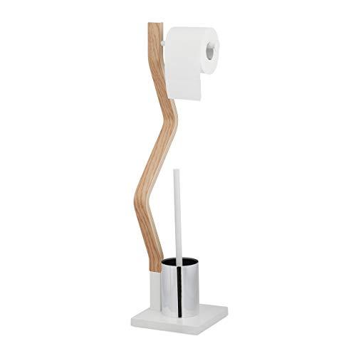Relaxdays WC Garnitur stehend, Holz und Stahl, Toilettenpapierhalter mit Bürste, HBT 75 x 18,5 x 18,5 cm, weiß/natur