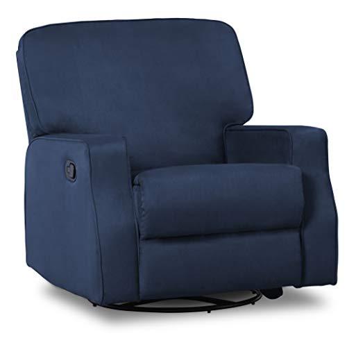 Delta Children Caleb Nursery Recliner Glider Swivel Chair, Navy