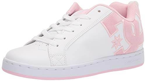DC womens Court Graffik Skate Shoe, White/Pink/Multi, 10 US