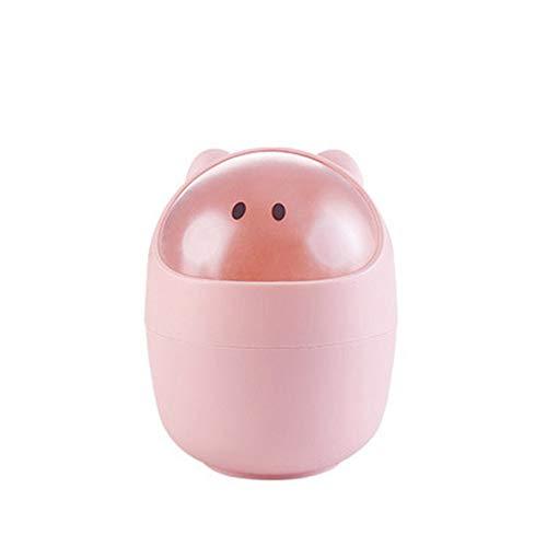 Slaapkamer bak GJDBBLY creatieve cartoon mini prullenbak thuis desktop opslag flip kleine stof auto vuilnisbak 15 * 12.5 * 7 * 11cm roze