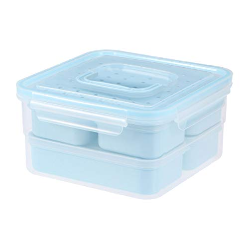 6pcs Food Storage Containers with Lids Leak Proof Easy Snap Lock and BPA Free Plastic Container Lunch Box Set for Kitchen Use(Blue) Best Partner For Lunch