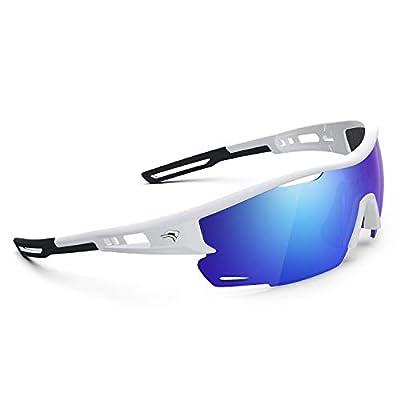 Polarized Sports Sunglasses for Men Women - UV Protection Cycling Sunglasses for Running Fishing Cycling Driving Baseball Golf Glasses TR90 Frame TR21 SNIPER (Bright White&Black&Blue Revo lens)