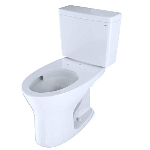 TOTO CST746CEMFG.10#01 Drake Two-Piece Elongated Dual Flush 1.28 and 0.8 GPF Universal Height DYNAMAX TORNADO FLUSH Toilet for 10 Inch Rough-In with CEFIONTECT,Cotton White