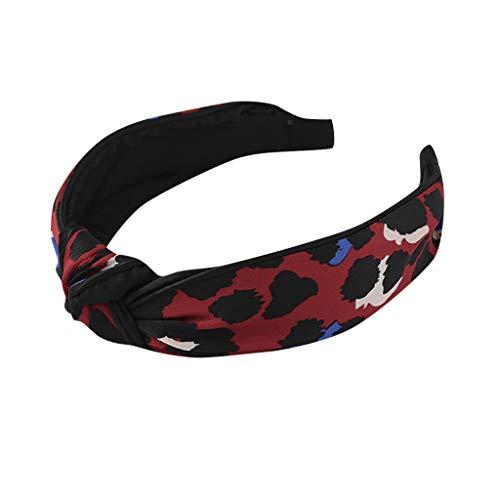 jerferr Frauen Leopardenmuster Krawatte Haarband Haarnadel Kopf Hoop Knoten Haar Stirnband