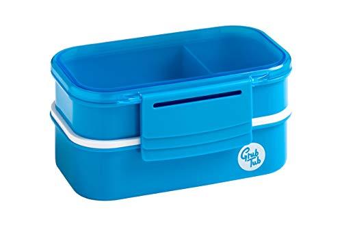 Premier Housewares sans tête Tub Lunch Box avec 2 récipients et Couverts, Plastique, Bleu, 12.5 x 20 x 9.5 cm