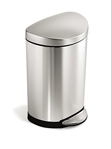 simplehuman 10 Liter  23 Gallon Stainless Steel Small Semi-Round Bathroom Step Trash Can Brushed Stainless Steel