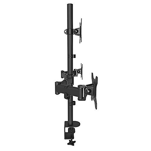 Soporte triple para monitor de 27 pulgadas, soporte para portátil de 8 kg, carga cada monitor, VESA de inserción rápida, giratorio, inclinable, soporte para brazo