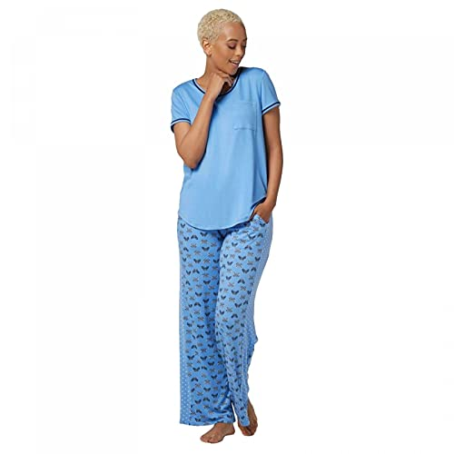 Cuddl Duds Women's Cool & Airy Jersey Color-Block Print Pajama Set. A346857 Small Blue/Butterfly