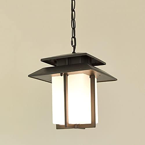 NAMFHZW Lámpara Colgante Colgante Exterior Blanca Japonesa Lámpara Colgante Colgante de Vidrio Impermeable E27 Luz de Techo Exterior Luminaria suspendida Iluminación de Pasillo de jardín