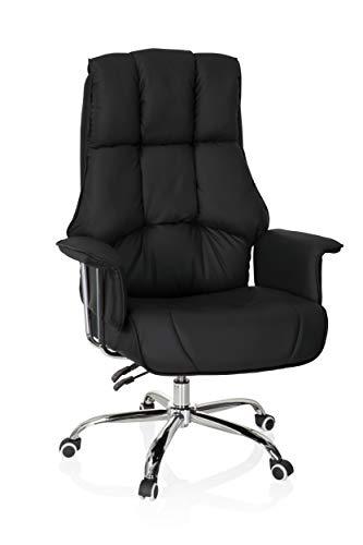 hjh OFFICE 706814 XXL Chefsessel Commander Kunstleder Schwarz Bürosessel dick gepolstert, Wippfunktion, hohe Rückenlehne