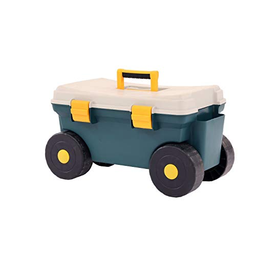 Oypla Outdoor Garden Rolling Tool Cart Storage Trolley Seat Box