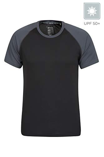 Mountain Warehouse Endurance Herren-T-Shirt - atmungsaktiv, UPF-30-Schutz, leichtes, bequemes und schnell trocknendes Oberteil - für Fitnessstudio, Reisen, Wandern Schwarz Jet Large