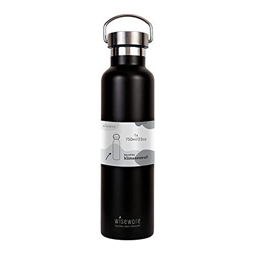Wiseware Botella de agua de acero inoxidable, 5 unidades, 750 ml, sin BPA, antigoteo, botella de metal para exterior, senderismo, escuela, deporte