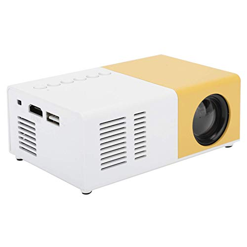 Mini Portable Projector, Full HD 1080P LED Home Theater Video Media Player Projector with Rack, Hi‑FI Stereo Best Gift for Kids(Yellow)