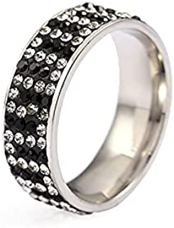 RIHJPGE Stainless steel ring, special-shaped splicing ceramic clay ring with diamonds, stainless steel jewelry for men and...