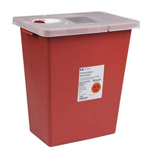Covidien 8980 SharpSafety Sharps Container Hinged Lid, 8 gal Capacity, Red (Pack of 10)