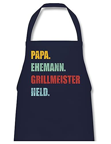 Shirtracer Vatertagsgeschenk Grillschürze - Papa Ehemann Grillmeister Held Retro Vintage Effekt - 60 x 87 cm (B x H) - Navy Blau - grillschürze für papa - PW102 - Kochschürze für Männer und Damen