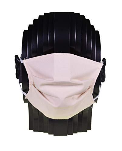 Mehrweg Mund- und Nasen-Maske aus 100{60eb6b5472c5a98fef4805b4f2c4b853448a21af6f93922d7ab0eea52e0a476c} Baumwolle, waschbar bis 95 Grad, Made in Germany by biberna, Größe L bis XL, natur, 1er