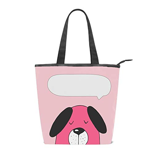 Women's Canvas Zipper Closure Handbag Cute Dog Speech Bubble Symbol Of New Year Handbags Shoulder Lunch Tote Bag with Large Capacity Best Gifts for Teen Girls