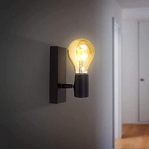 Goeco Aplique de Pared, E27 Lámpara de Pared Interior, Aplique de viento industrial metal, para Salon Pasillo Escalera Dormitorio, Negro(Sin bombilla)