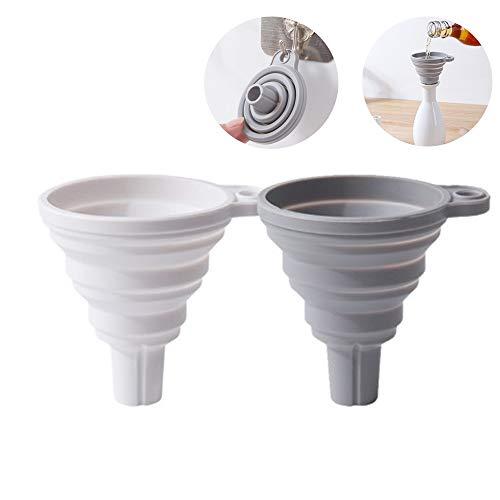 Dulau 2 Stück Faltbarer Trichter, Silikon-Trichter, Trichter für die Küche, Mini Hitzebeständig Lebensmittelecht Zusammenklappbar Trichter, für Küche und Haushalt (Weiß + Grau)