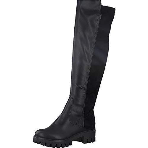 Tamaris Damen Stiefel, Frauen Overknee Stiefel, Women's Women Woman Abend elegant Feier Overknee-Boots lederstiefel Flacher Lady,Black,37 EU / 4 UK
