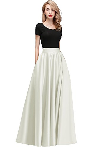 honey qiao Women Satin Skirts Long Floor Length High Waist Formal Prom Party Skirts with Pockets Back Zipper Closure Ivory