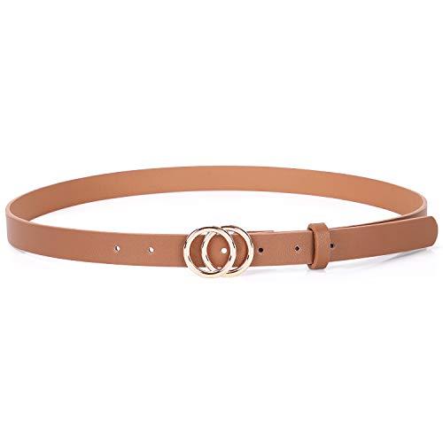 XZQTIVE Doppel O Ring Gürtel Damen Ledergürtel Mode-Design Jeans Gürtel mit Goldschnalle Gürtel für Kleid