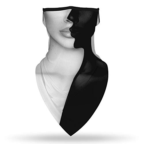 Ainuno Funny Mask Funny Neck Gaiter with Ear Loops Funny Halloween Mask for Men Women Half Face Cool Cute White Black Face Bandana Mask Gaiter Scarf Wrap for Fishing Rave Party Outdoor,Kiss Face