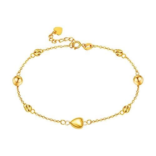 Beydodo Pulsera de Mujer Oro,Pulsera Mujer Oro Amarillo 18 Kilates Cadena de Rolo con Bolas y Corazón Longitud 16cm + 2cm