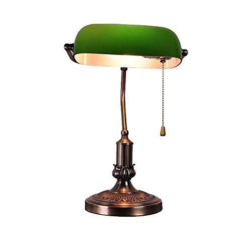 YHFX2Schreibtischlampen Tischlampe, traditionelle echte Banker Lampe, Smaragdgrün Glas Lampenschirm galvanisch Kupfer Metall Basis Schreibtisch Nachttischlampe E27 (Zugschalter) 002 (Color : A)