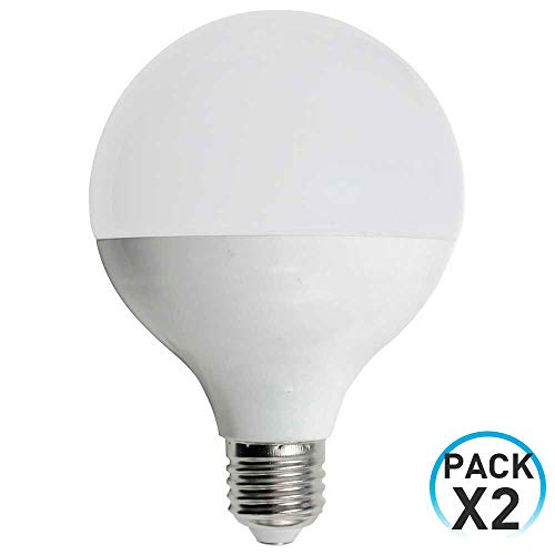 Pack 2 Bombillas LED Globo E27 9W Equi.60W 806lm 3000K 15000H 1Primer Low Cost