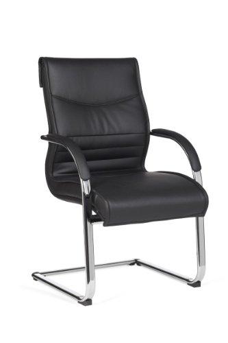 Amstyle Freischwinger Milano Besucherstuhl Bezug Leder-Optik Schwingstuhl Visitor X-XL Chrom Meetingstuhl ergonomisch Design ergo Kippschutz Konferenzstuhl Wartestuhl feststehend 120 kg, schwarz