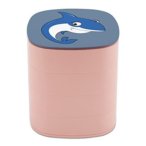 Rotar la caja de joyería Diseño de cómic tiburón lindo expresión colmillos Bowed joyería titular caja pequeña con espejo, diseño de múltiples capas plato de joyería para mujeres y niñas