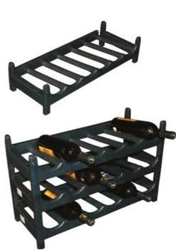 Botellero Negro Apilable de Plástico para Vinos, Mostos, Bebidas y Licores (60 cm x 25 cm x 13,5 cm) - 1 pieza - Capacidad 6 Botellas