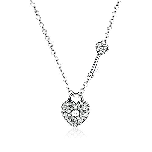 DGFGCS Ladies silver necklace 925 Sterling Silver Clear Cz Heart Lock And Key Link Chain Choker Necklace For Women Luxury