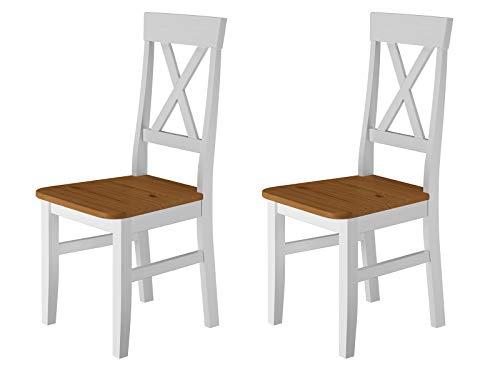 Erst-Holz® Küchenstuhl Massivholzstuhl Farbton Eiche und weiß Esszimmerstuhl Massivholz V-90.71-24W, Menge:Doppelpack