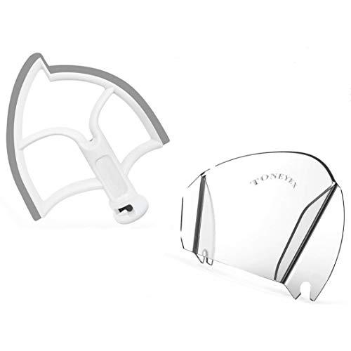 tellaLuna Batidor plano, bilateral flexible de silicona con bordes para cuencos de 6 cuartos y escudo para batidora de pie