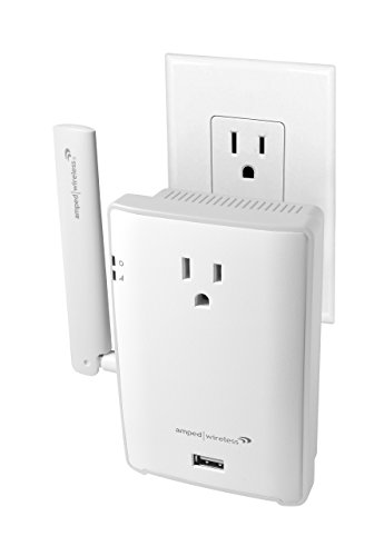 Amped Wireless High Power Plug-in AC1200 Wi-Fi Range Extender with Pass Thru Outlet & USB Charging (REC22P)