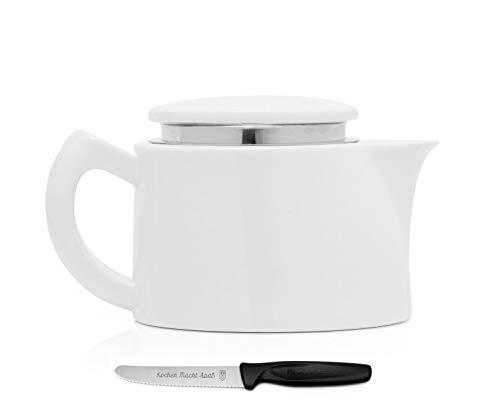 Sowden Oskar Kaffeekanne 0,4 l Porzellan weiß, plus ultrascharfes, langlebiges Kochen Macht Spaß Vespermesser im Set