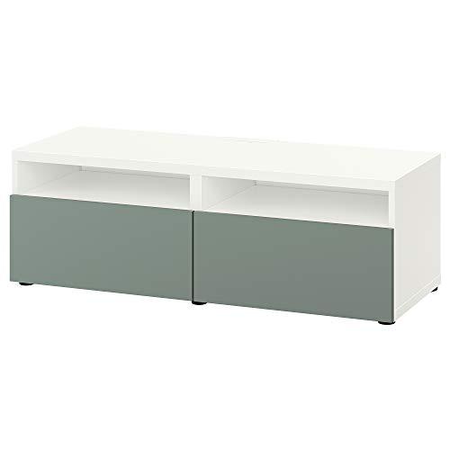 BESTÅ TV-bank met laden 120x42x39 cm wit/Notviken grijs-groen