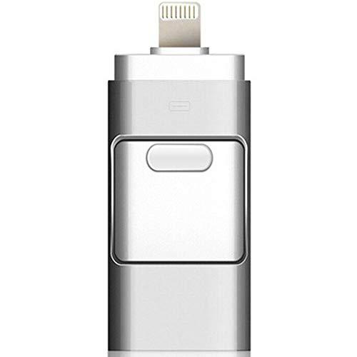 Memoria flash USB 3.0 OTG 3 en 1, 32 GB, 64 GB, 128 GB, 256 GB, para iPhone, iPad, tableta, teléfono, Android, Pendrive (256 GB), color plateado