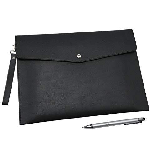 Wonderpool A4 PU cuero sobre documentos multifunción carpetas papelería bolsa - Archivo de cartera para organizador de cartas de papel y funda para tablet PC (Negro)
