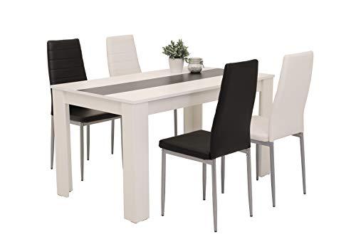 5-teilig Essgruppe Helene, Tisch Holzwerkstoff Weiß mit je 2 Stühlen in Schwarz & Weiß, Metallgestell
