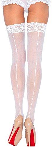 Leg Avenue Damen Halterlose Strümpfe Nylon 20 DEN Weiß mit rückwärtiger Naht und Spitzenborte Einheitsgröße 36 bis 40