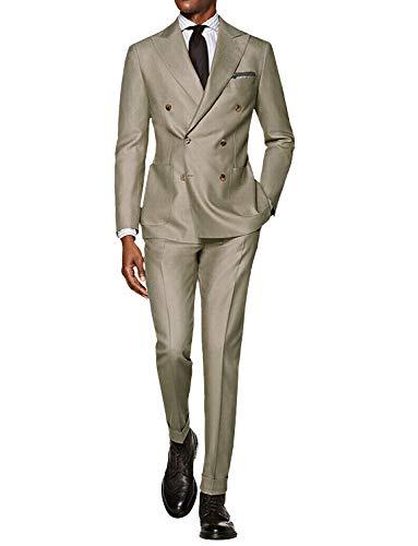 Wemaliyzd Men's Formal 3 Piece Business Suit Shawl Lapel Wedding Tux Blazer Vest Pants (Navy Blue,46R)